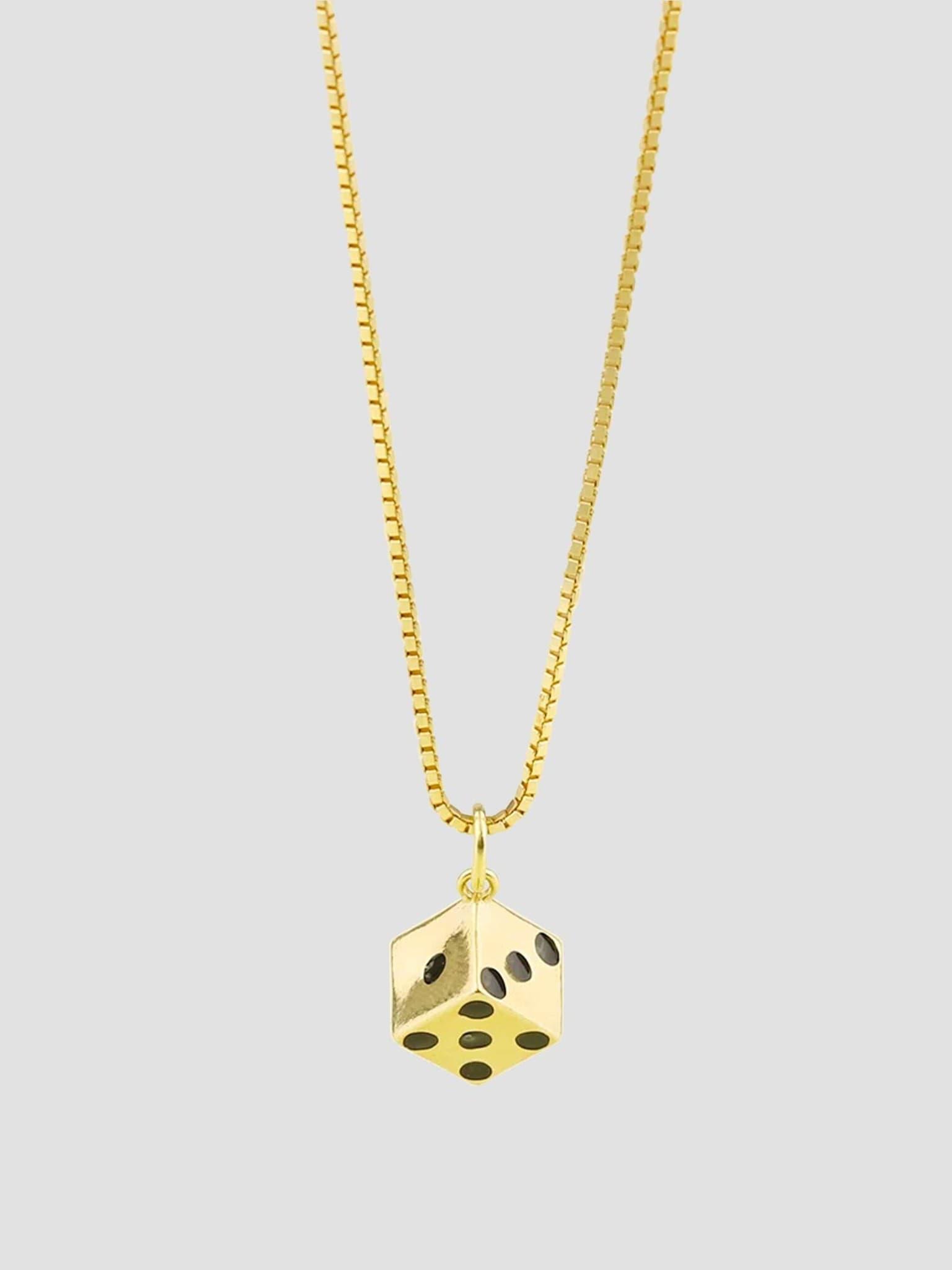 Dice Necklace 55cm 14k Gold