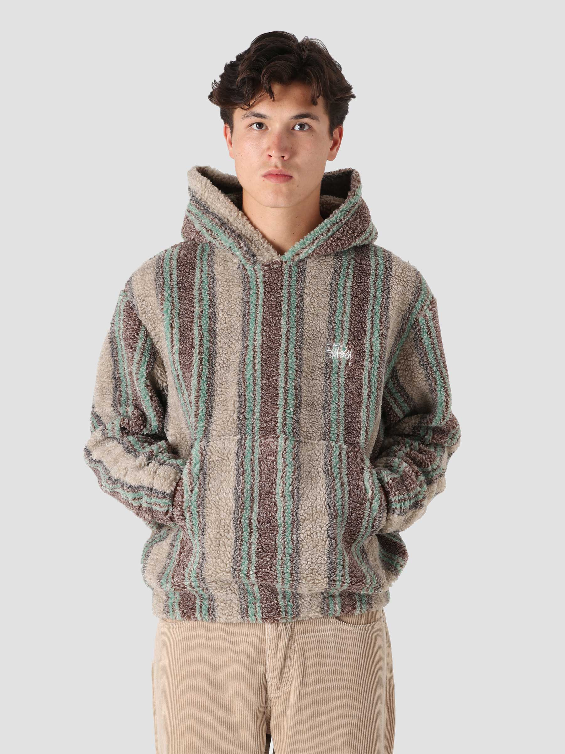 Stripe Sherpa Hoodie Tan 118438