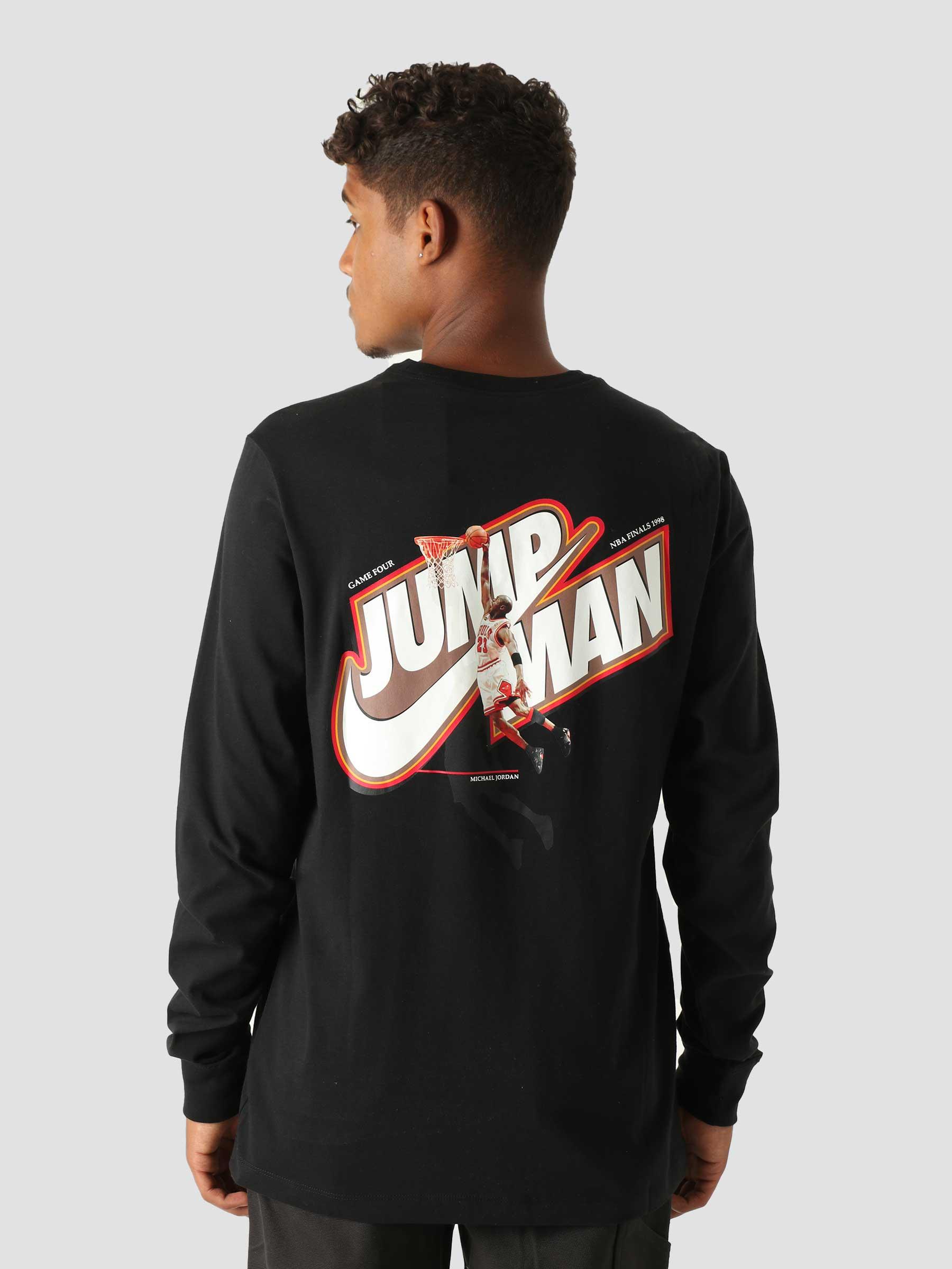 M J Jumpman Longsleeve Crewneck Black Chile Red DC9775-010