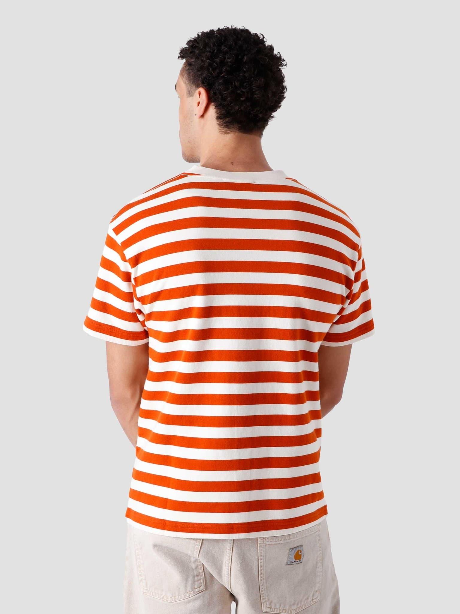 Stripe Sans T-Shirt White Orange
