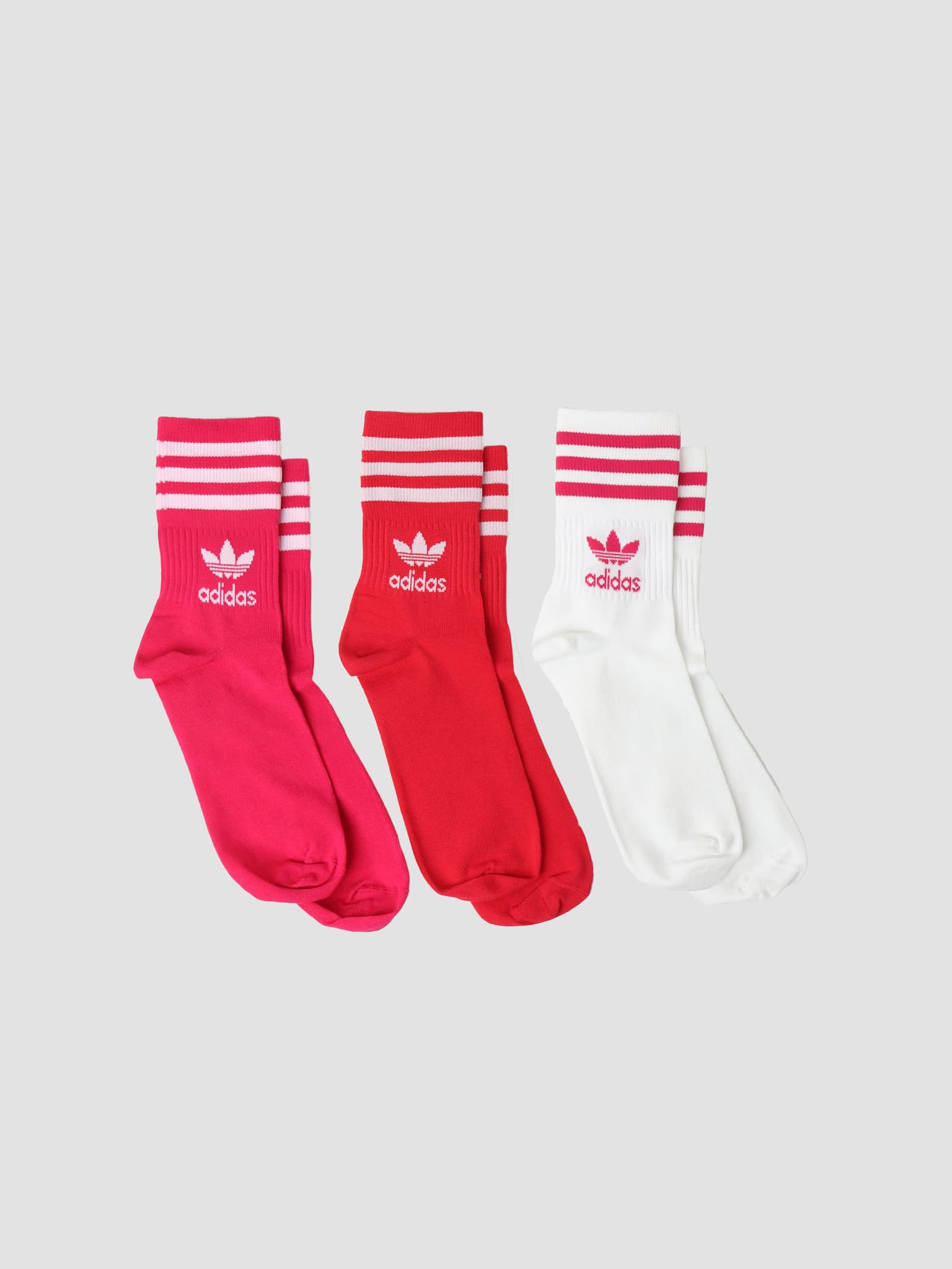 Mid Cut Crew Socks White Bold Pink Bold Red H32335