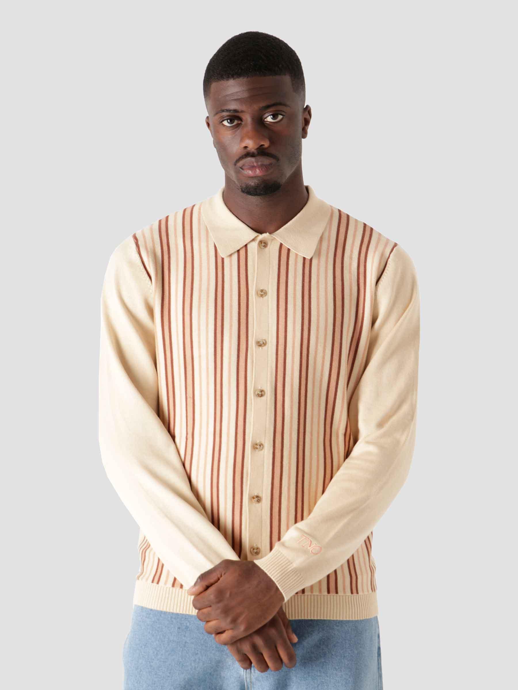Striped Button Vest Beige