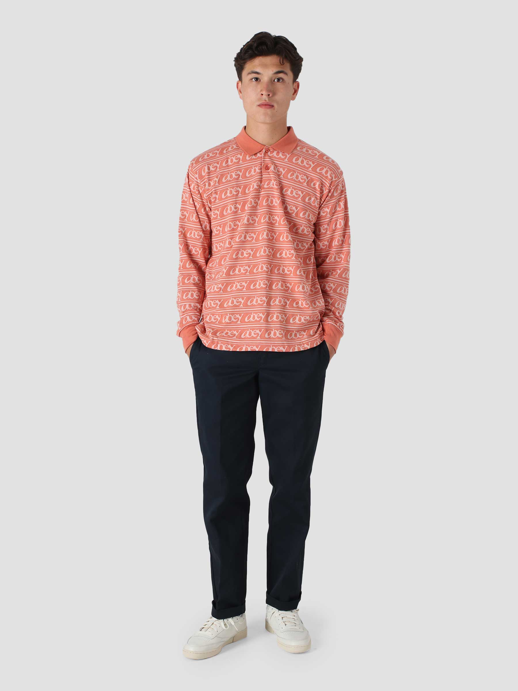 Wergner Jacquard Polo T-Shirt Ls Longsleeve Polo Copper Coin Multi 131040042