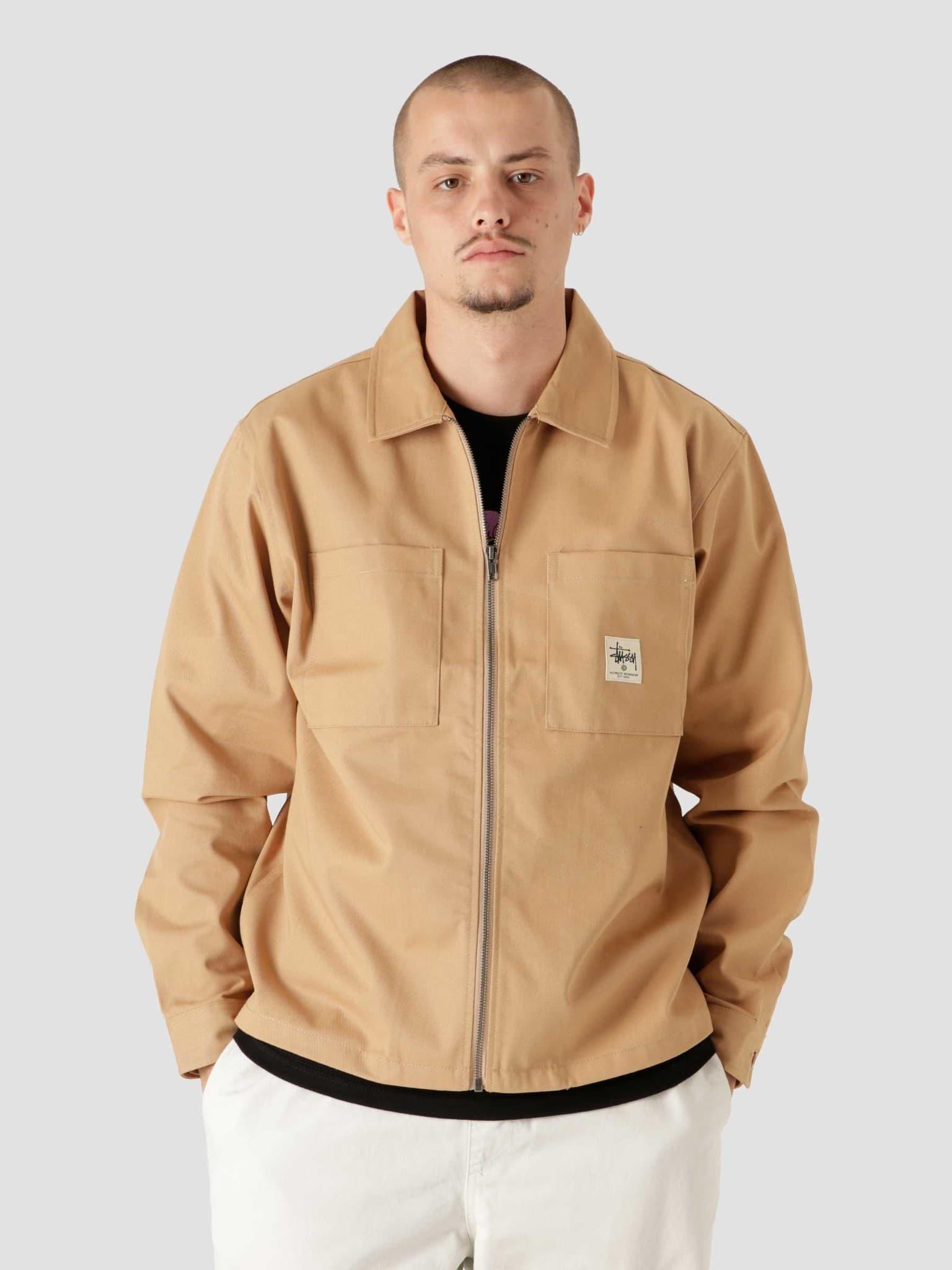 Zip Up Work Longsleeve Shirt Camel 1110172