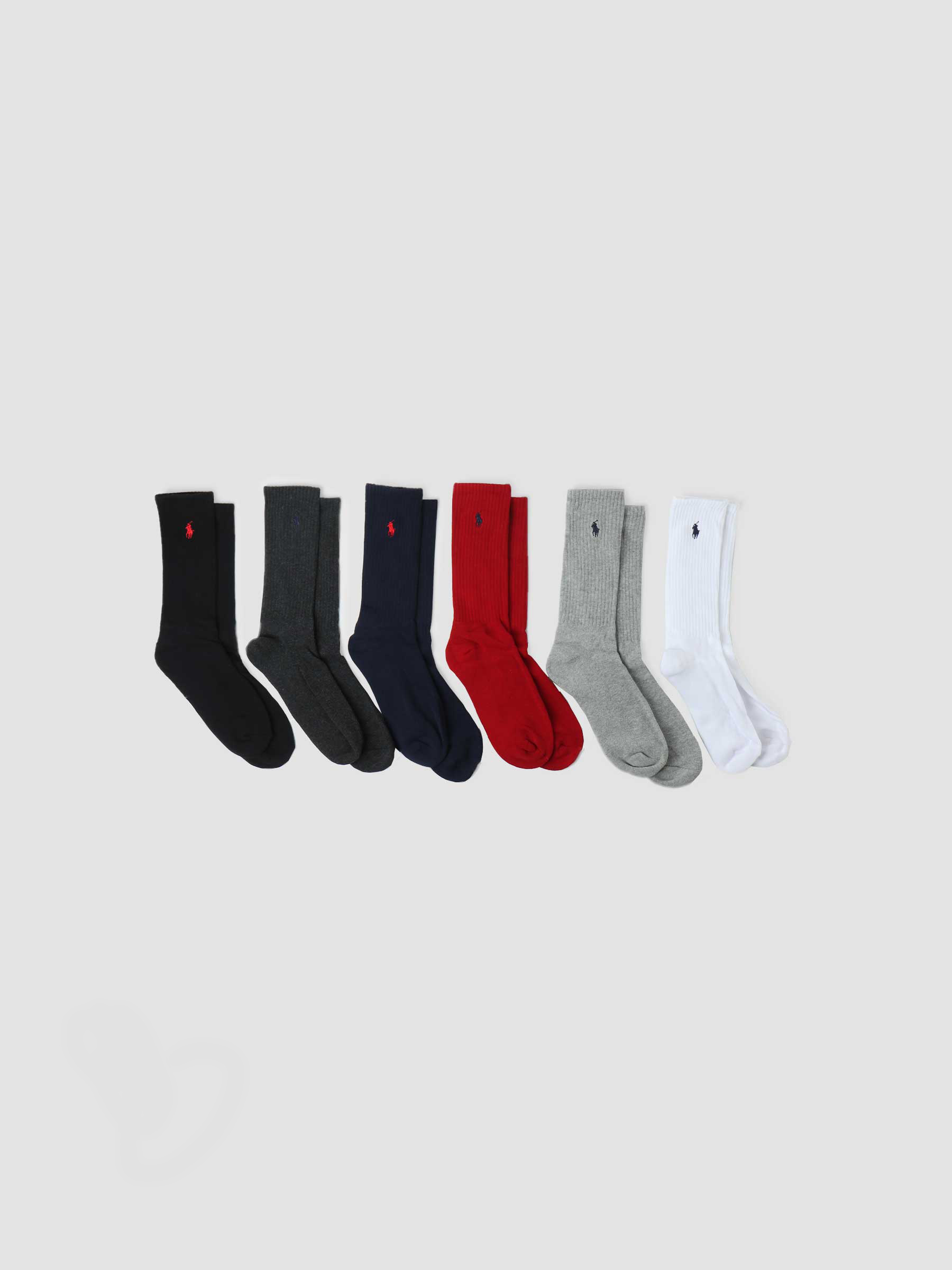 Cotton Crew 6 Pack Blk Red Nvy Char Hthr White 449824809003