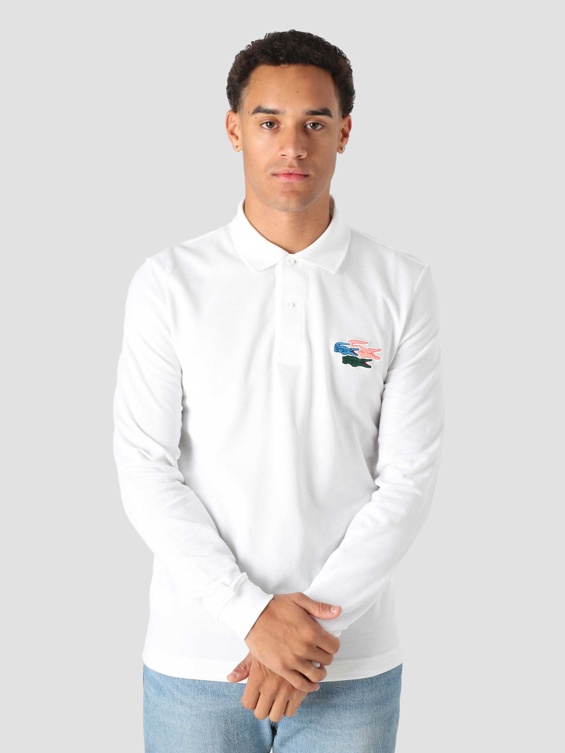 1HP4 Men's Longsleeve Polo 10 White PH7962-13