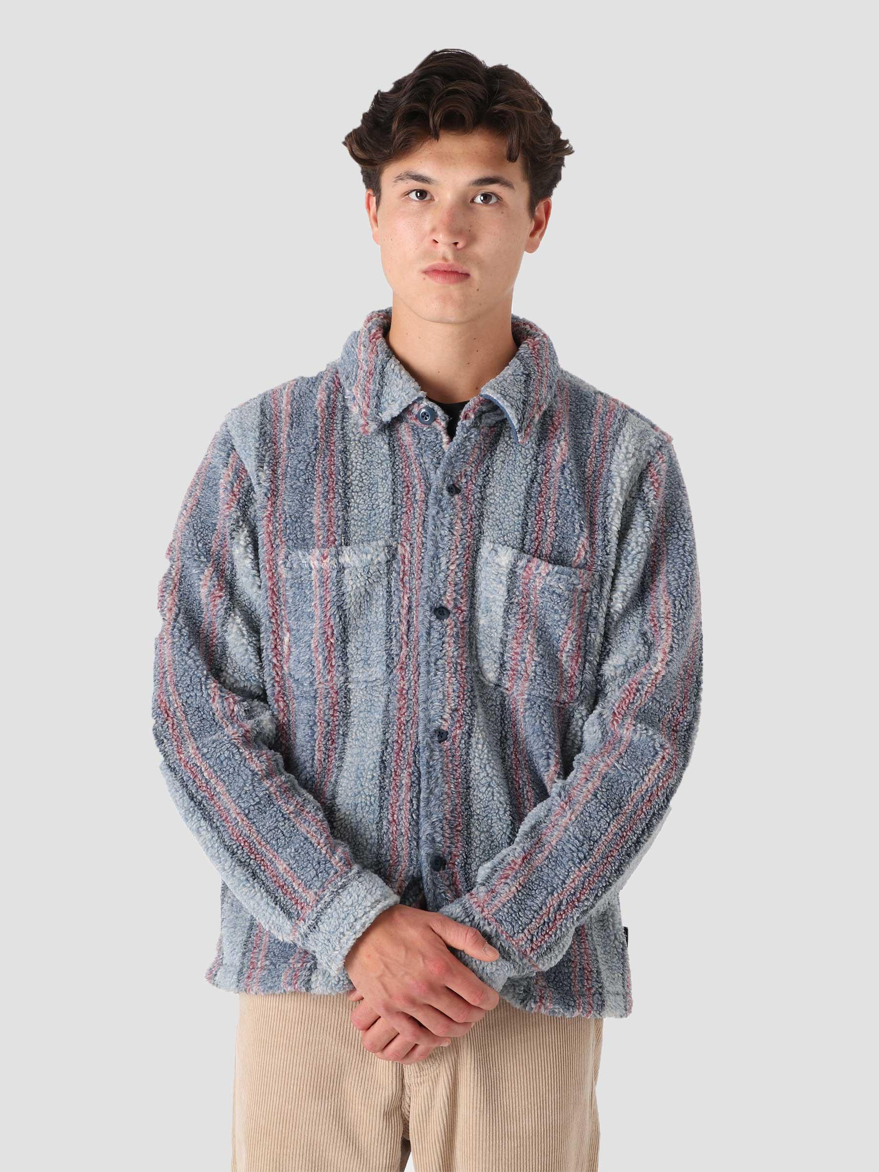 Stripe Sherpa Shirt Blue 1110197
