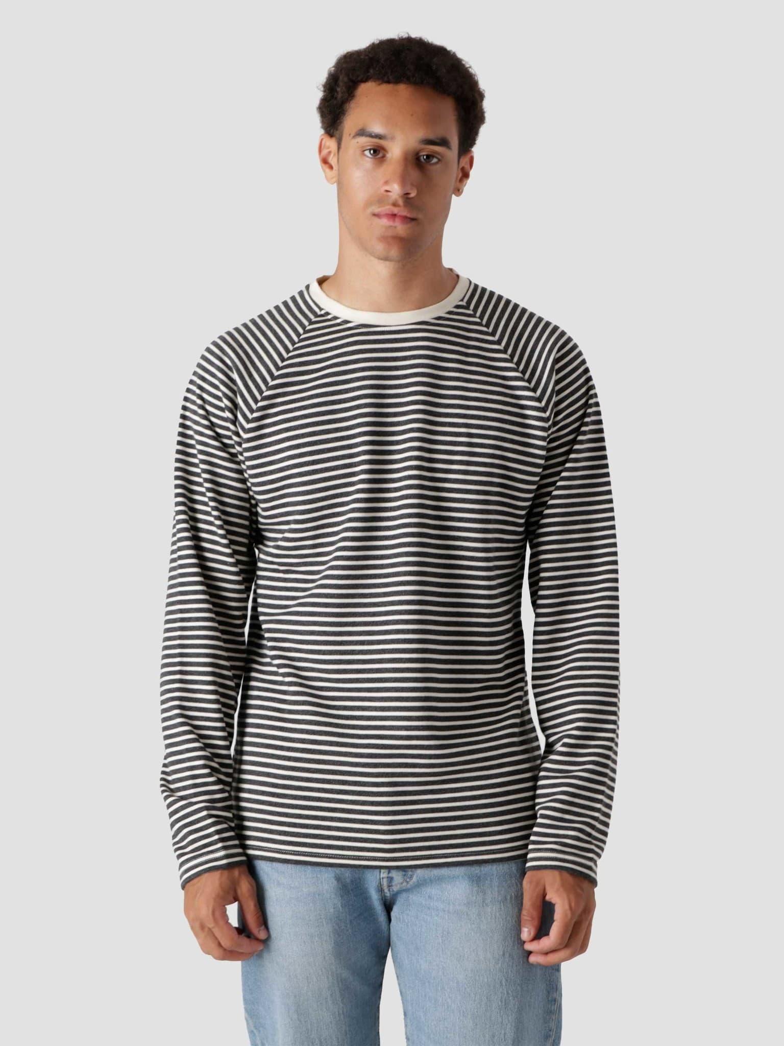 QB603 Stripe Longsleeve Black Off White