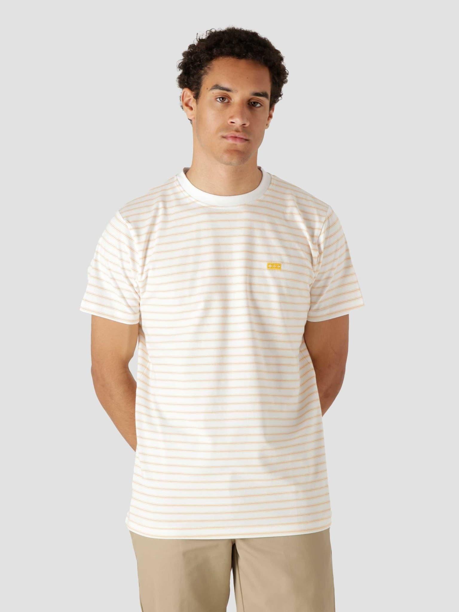 QB601 Stripe T-shirt White Orange Yellow