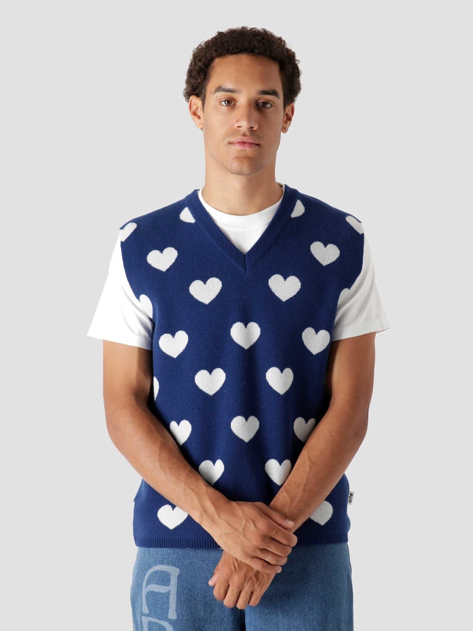 Klimt Heart Knit Blue White AW21-028K