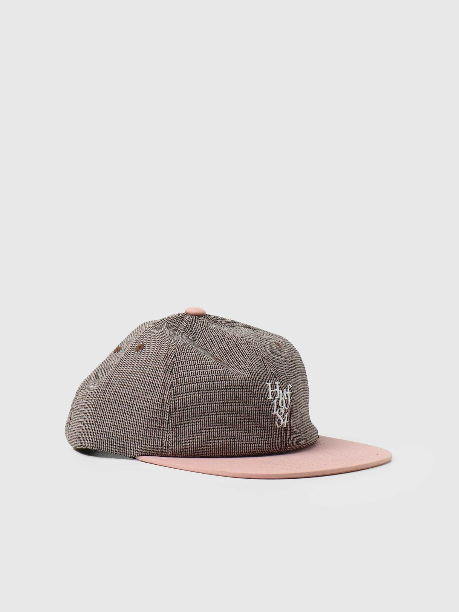 Micro Houndstooth 6 Panel Hat Dusty Rose HT00554