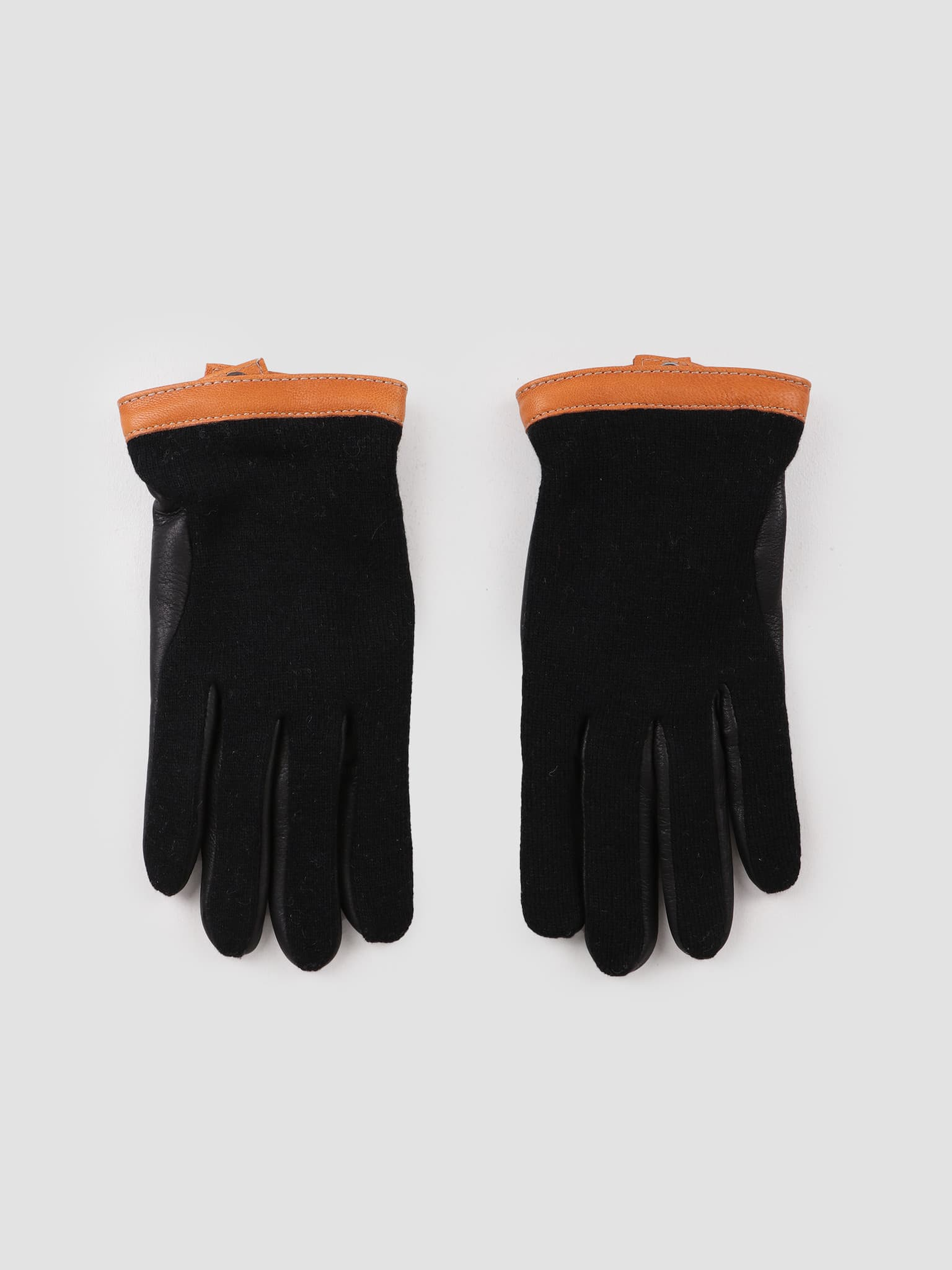 Deerskin Wool Tricot Glove Black Black 20450