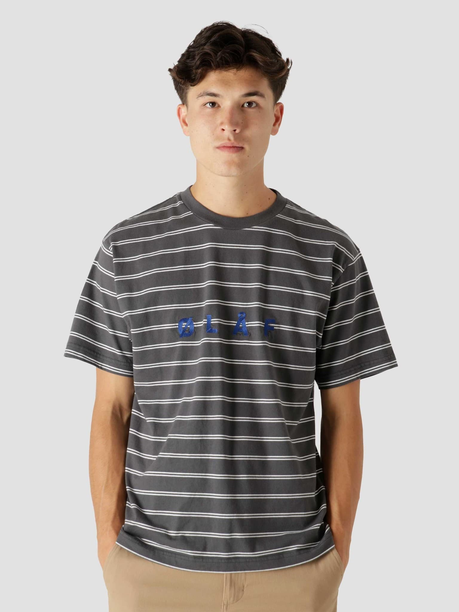 OLAF Mini Stripe T-Shirt Dark Grey White