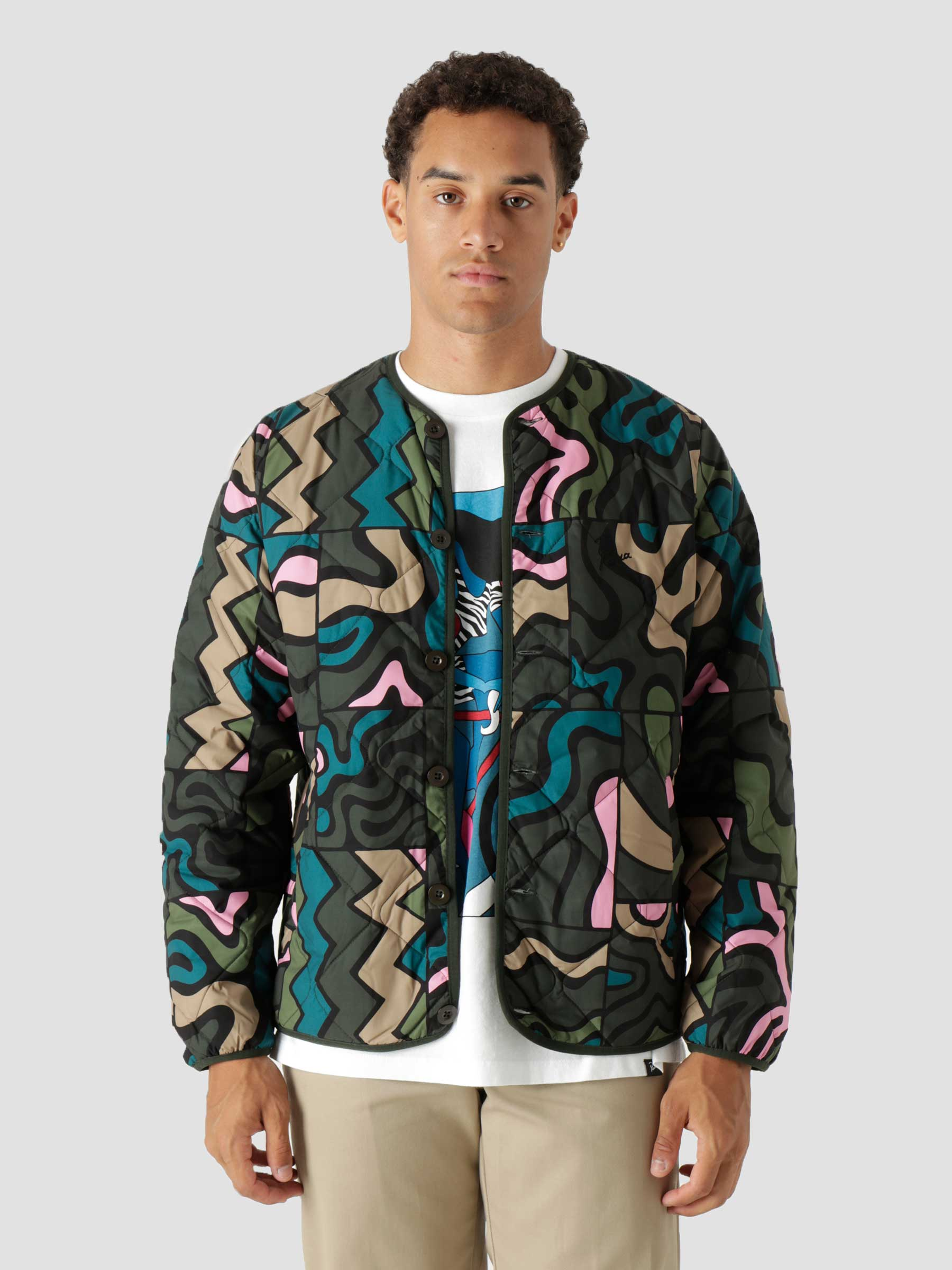 Gem Stone Pattern Quilted Jacket Multi 46230
