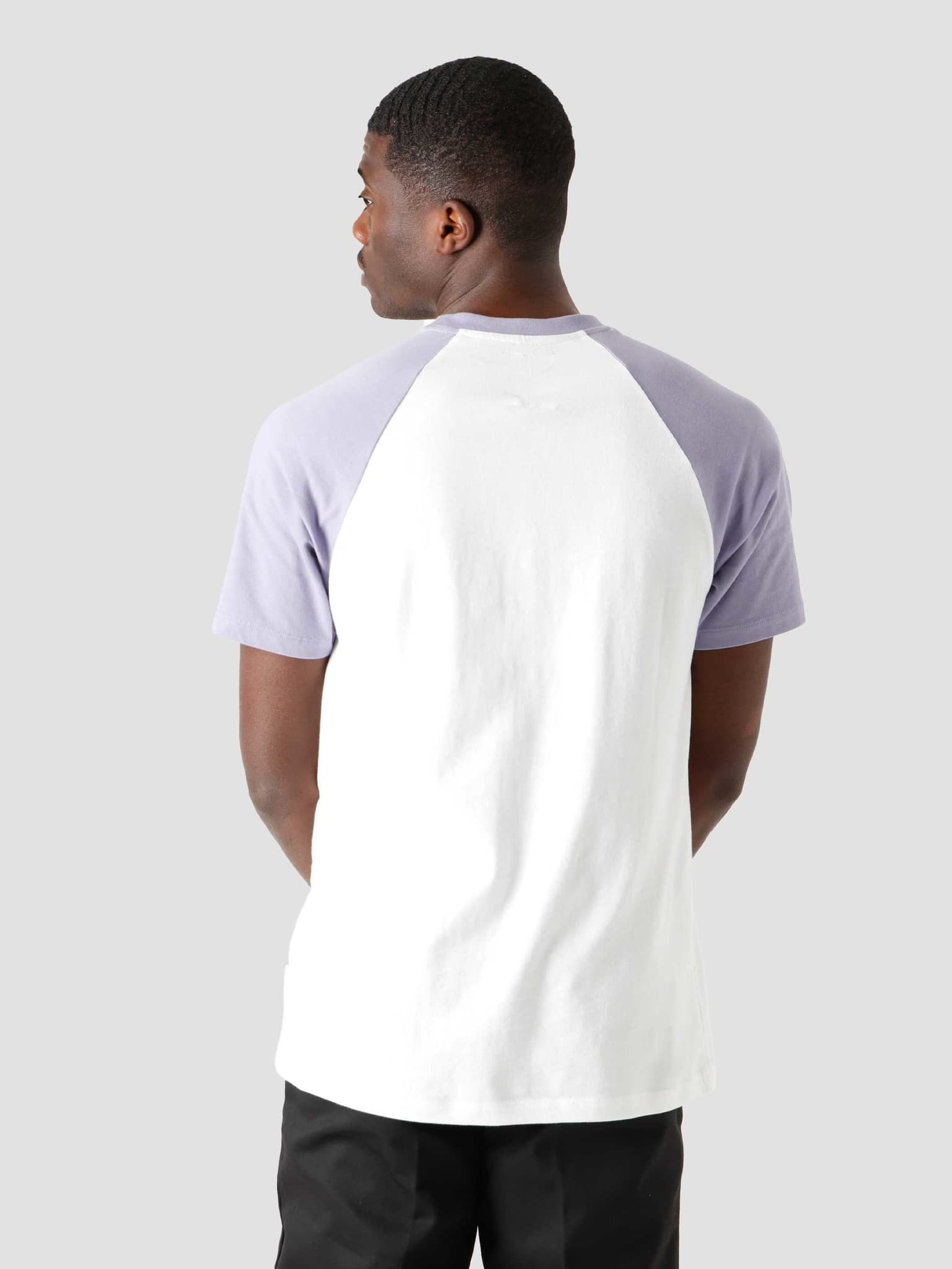 QB07 Patch Logo Baseball T-shirt White Lilac