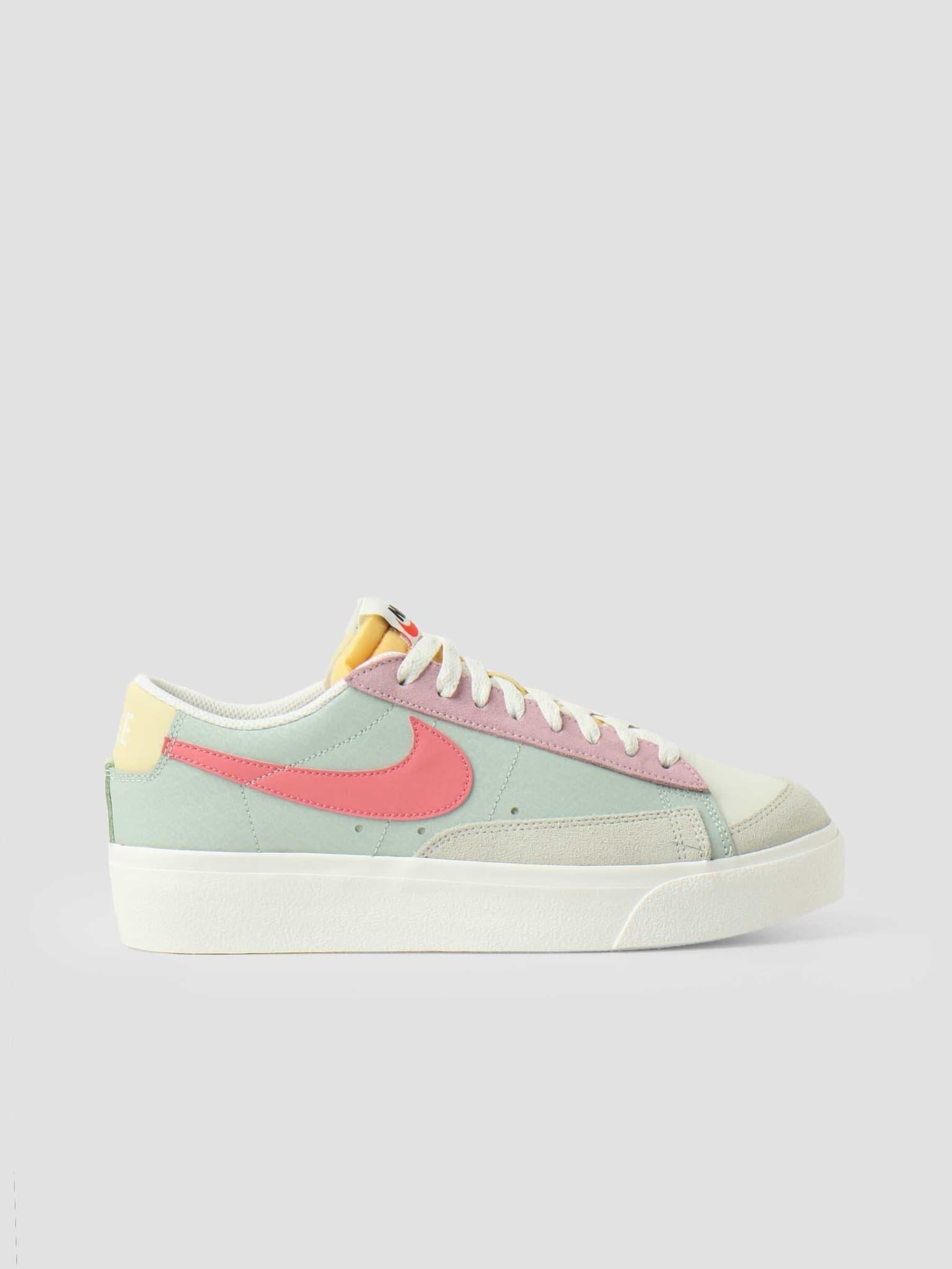 Wmns Nike Blazer Low Platform Seafoam Pink Salt Sea Glass Saturn Gold DM9464-001