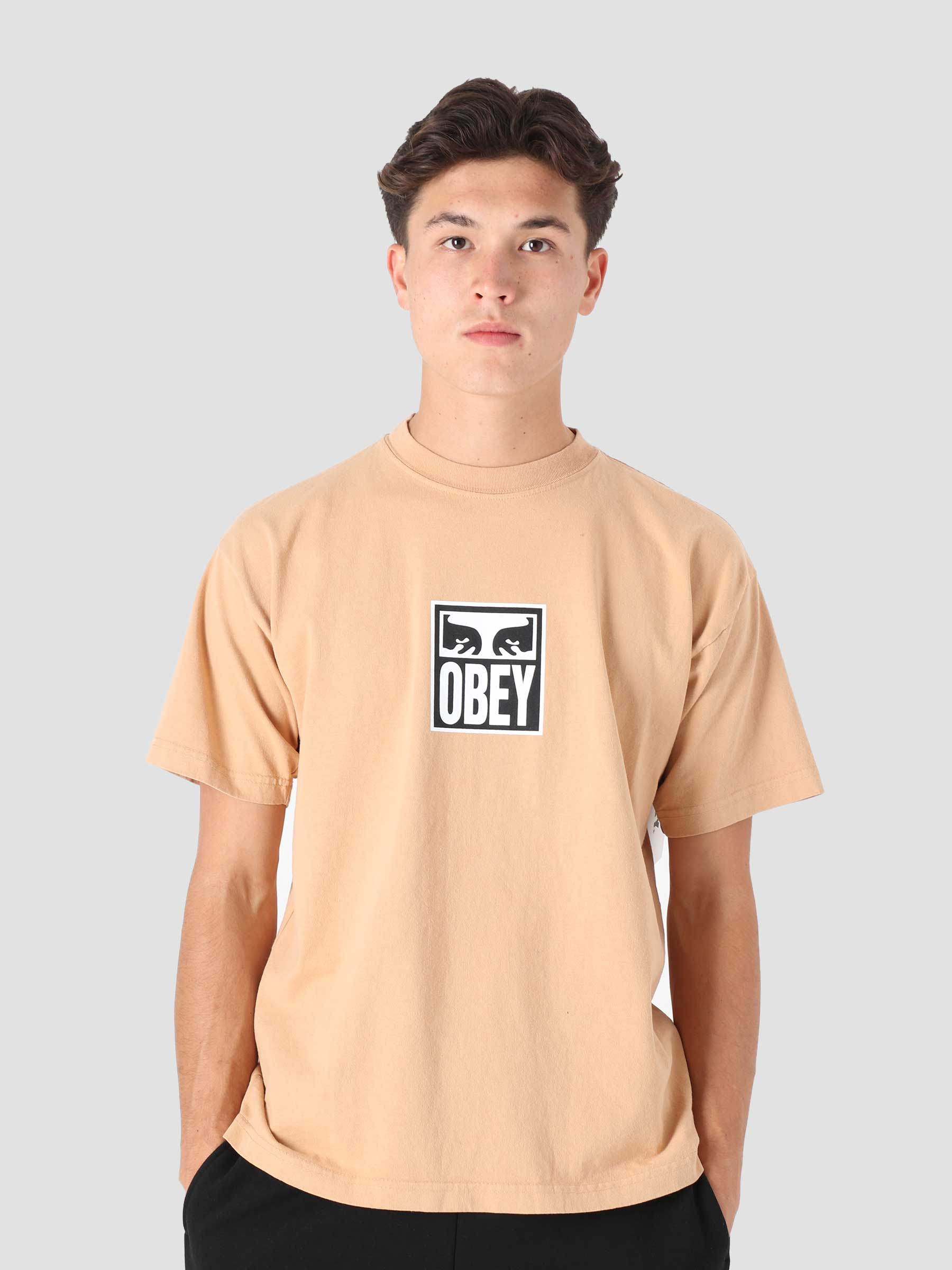 Obey Eyes Icon 3 Heavy Weight Classic Box T-Shirt Light Toffee 166912712