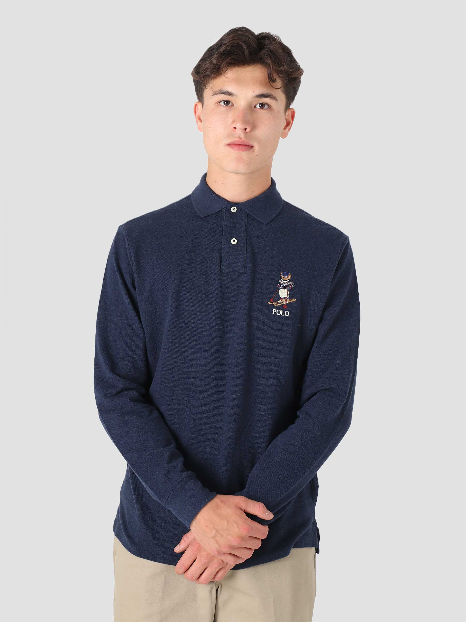 20-1 Mesh Long Sleeve Polo Shirt Medieval Blue Heather 710853322001