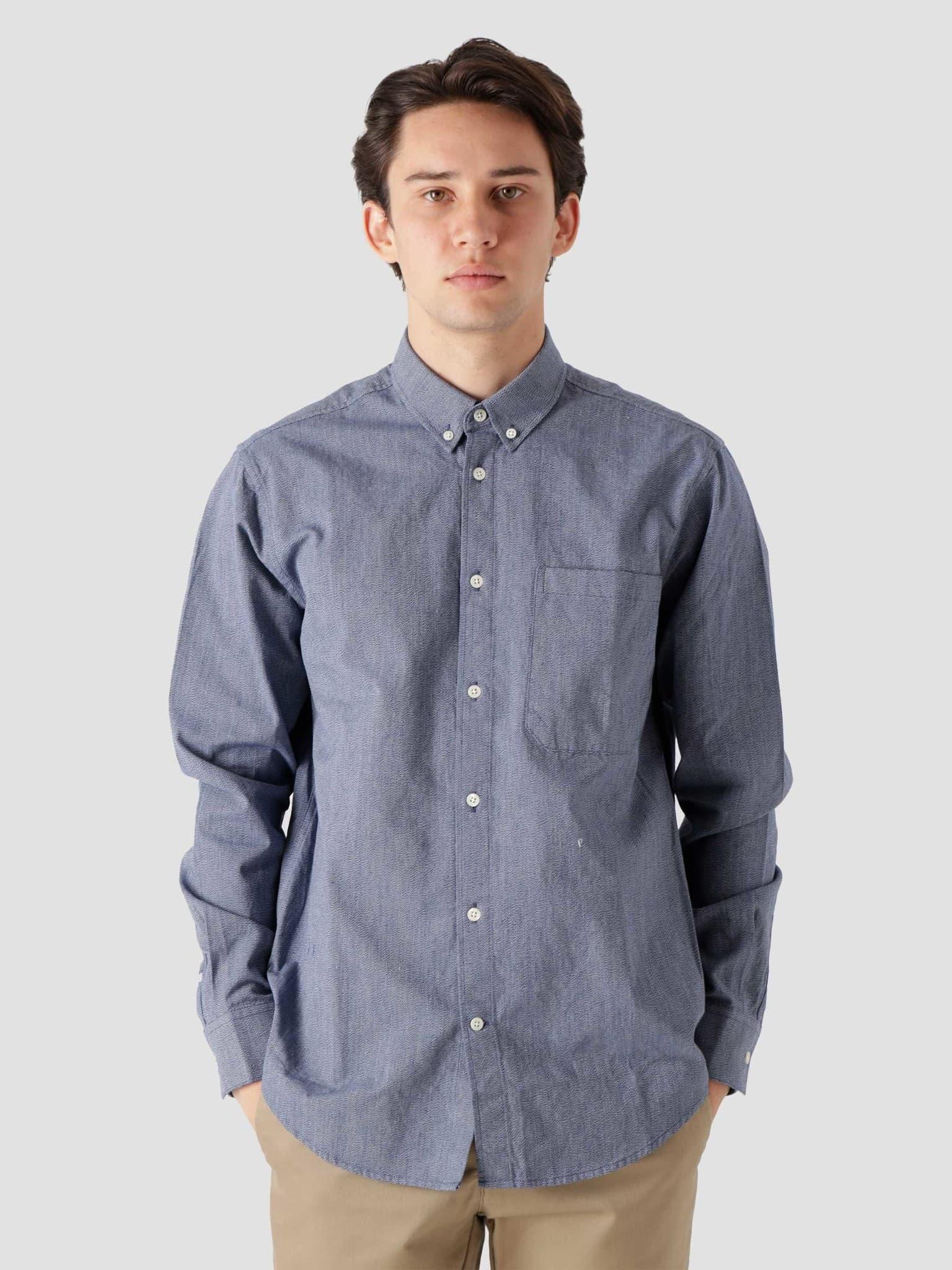 QB44 Stripe Shirt Navy Blue Textured