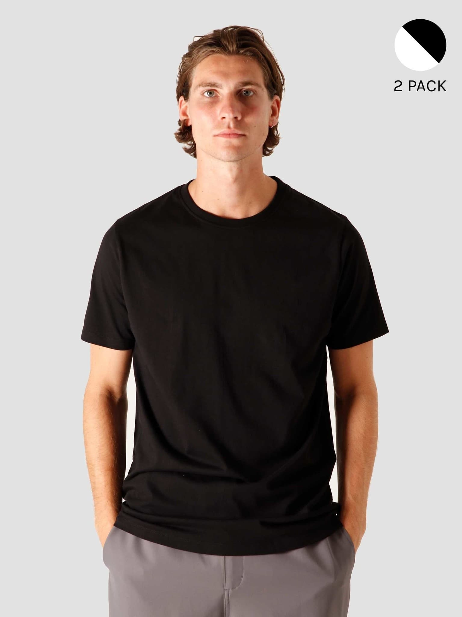 2-Pack QB01 Mix T-shirt Black and White