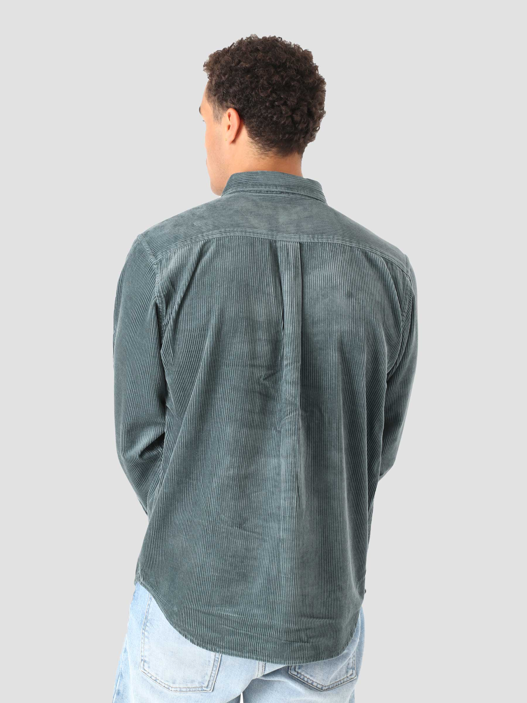Longsleeve Madison Cord Shirt Eucalyptus Black I029958