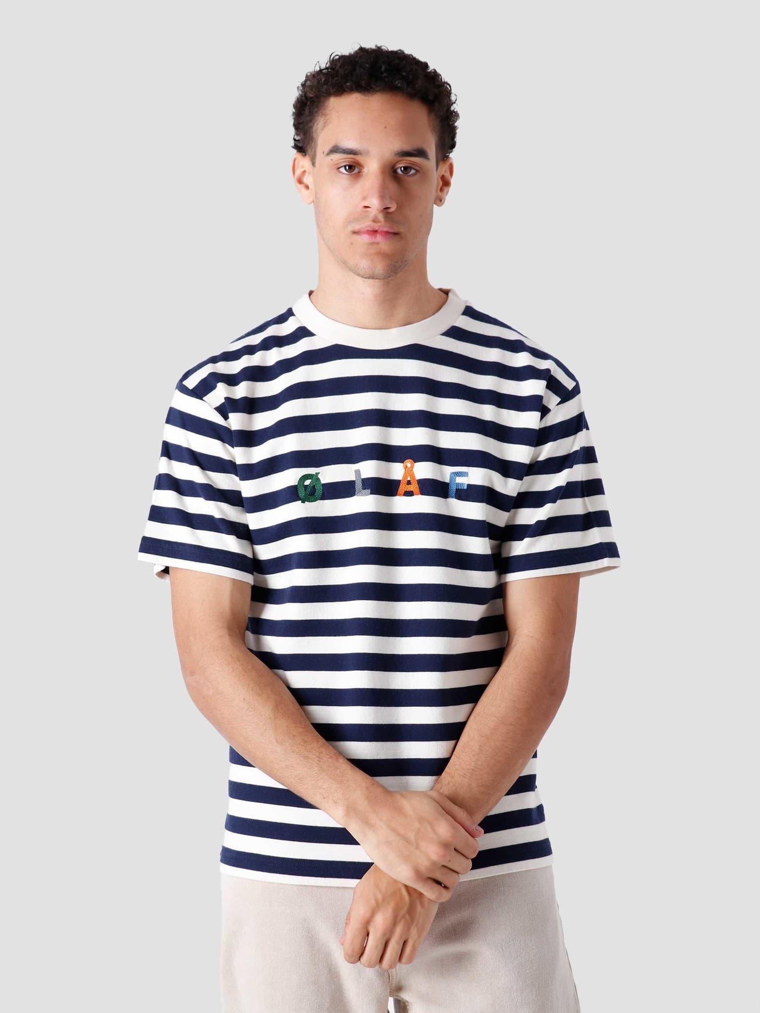 Stripe Sans T-Shirt White Blue