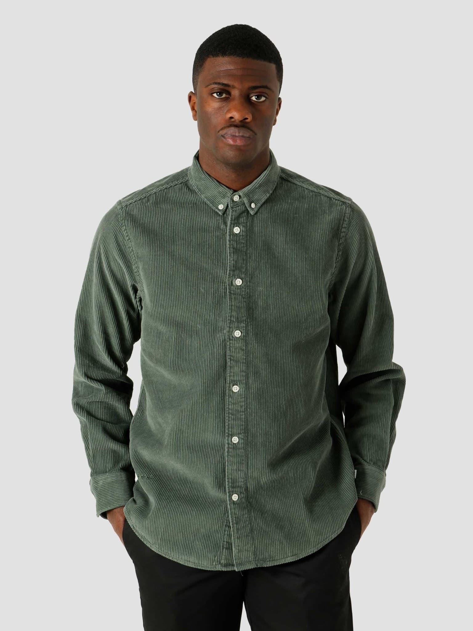 QB41 Cord Shirt Olive Green