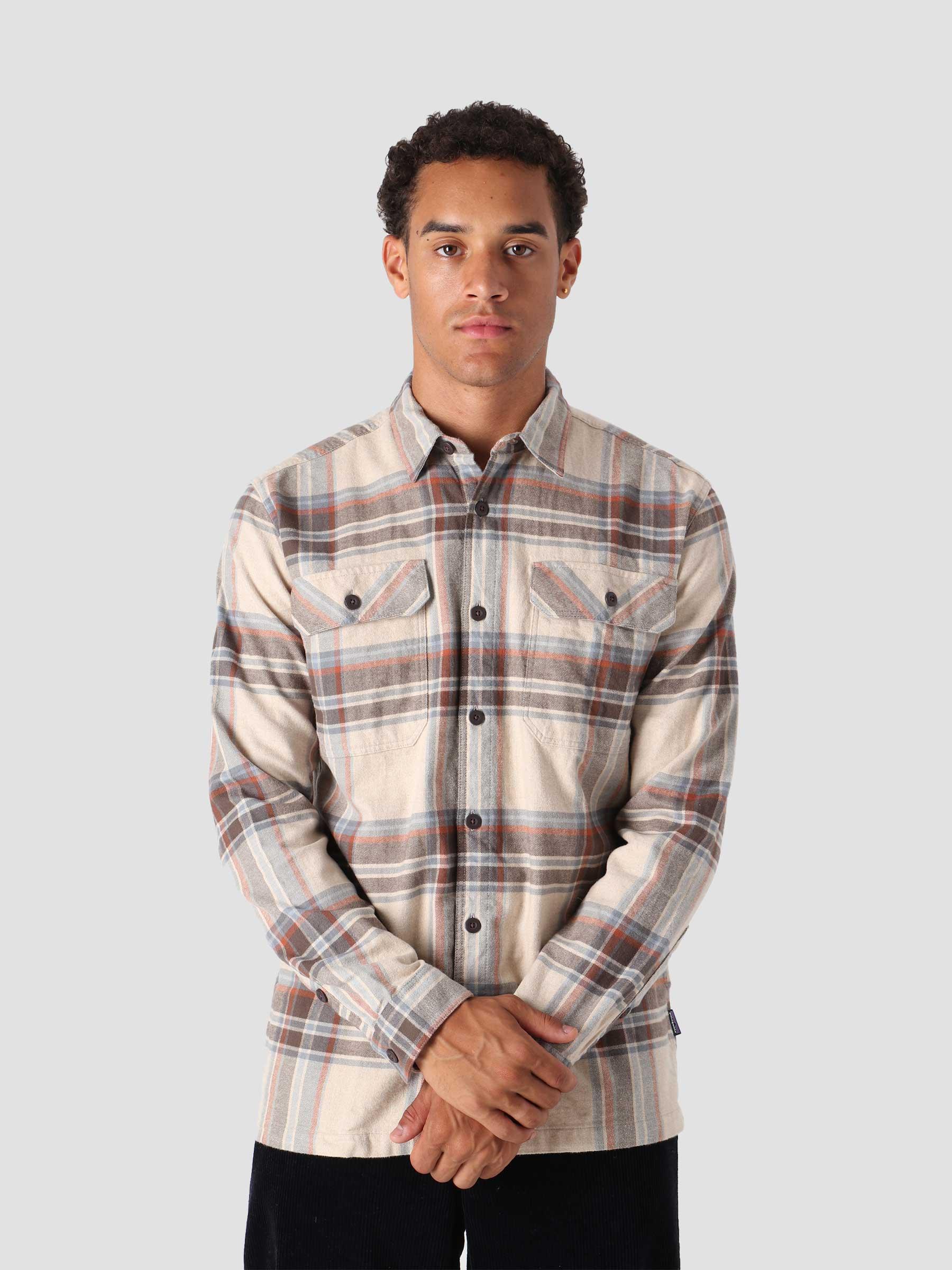 M's L/S Organic Cotton MW Fjord Flannel Shirt Edge: Nautilus Tan 42400