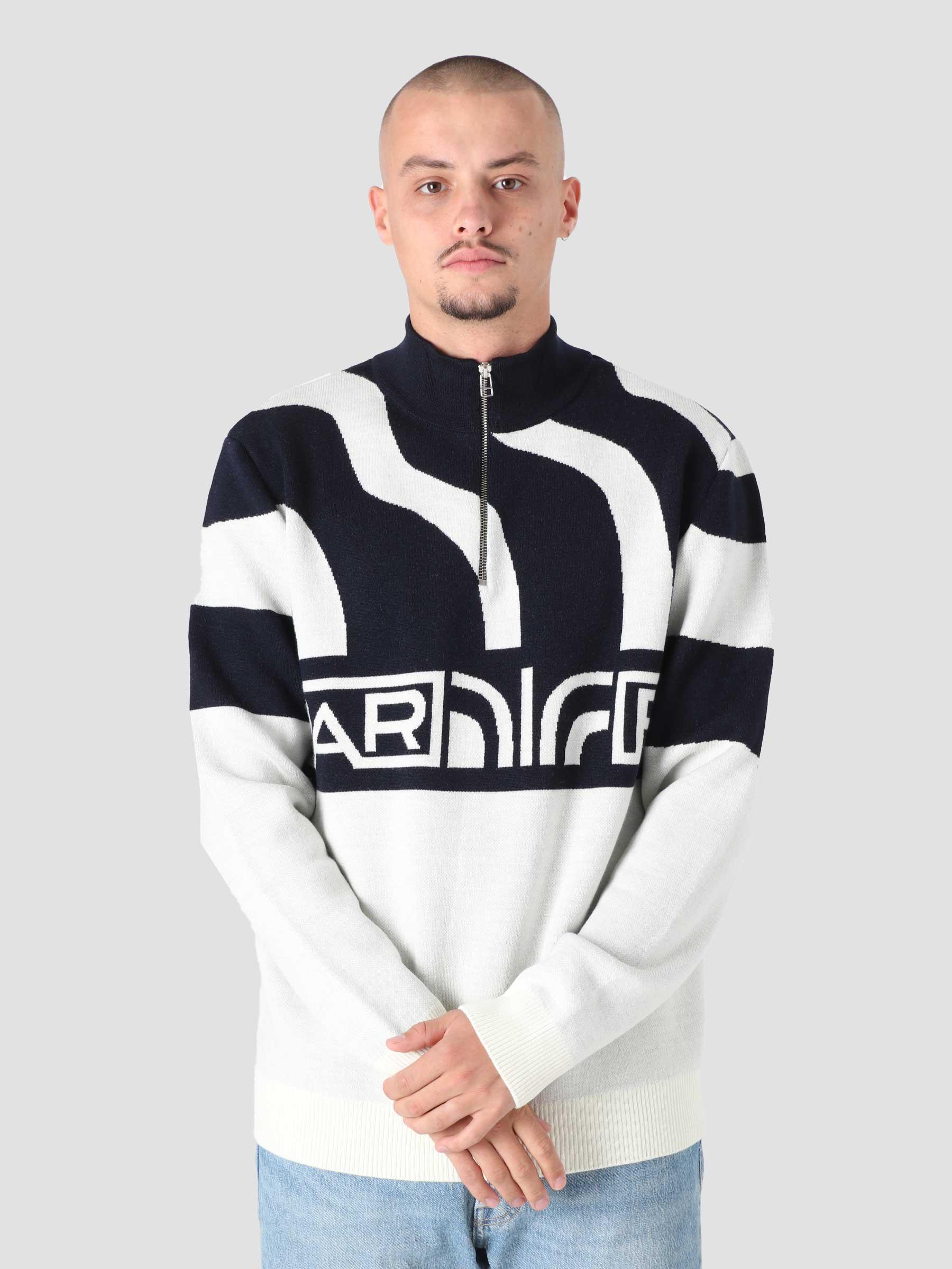 Shoulder Waves Half Zip Knitted Pullover Off White 46310