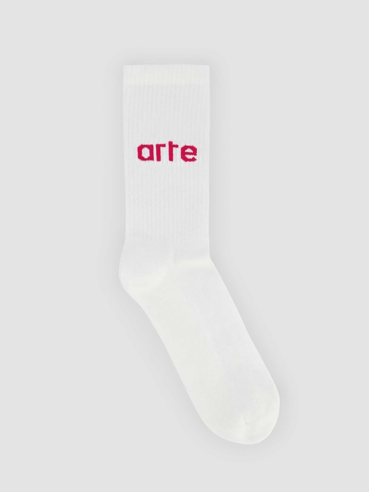 Logo Sock White Pink 076SK