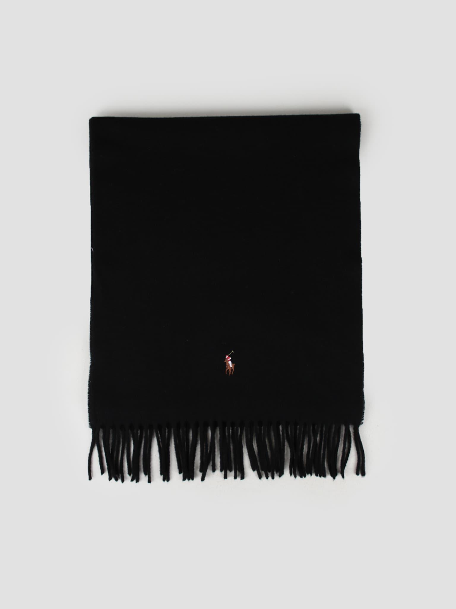 Sign It Wool Oblong Scarf Black 449727530001