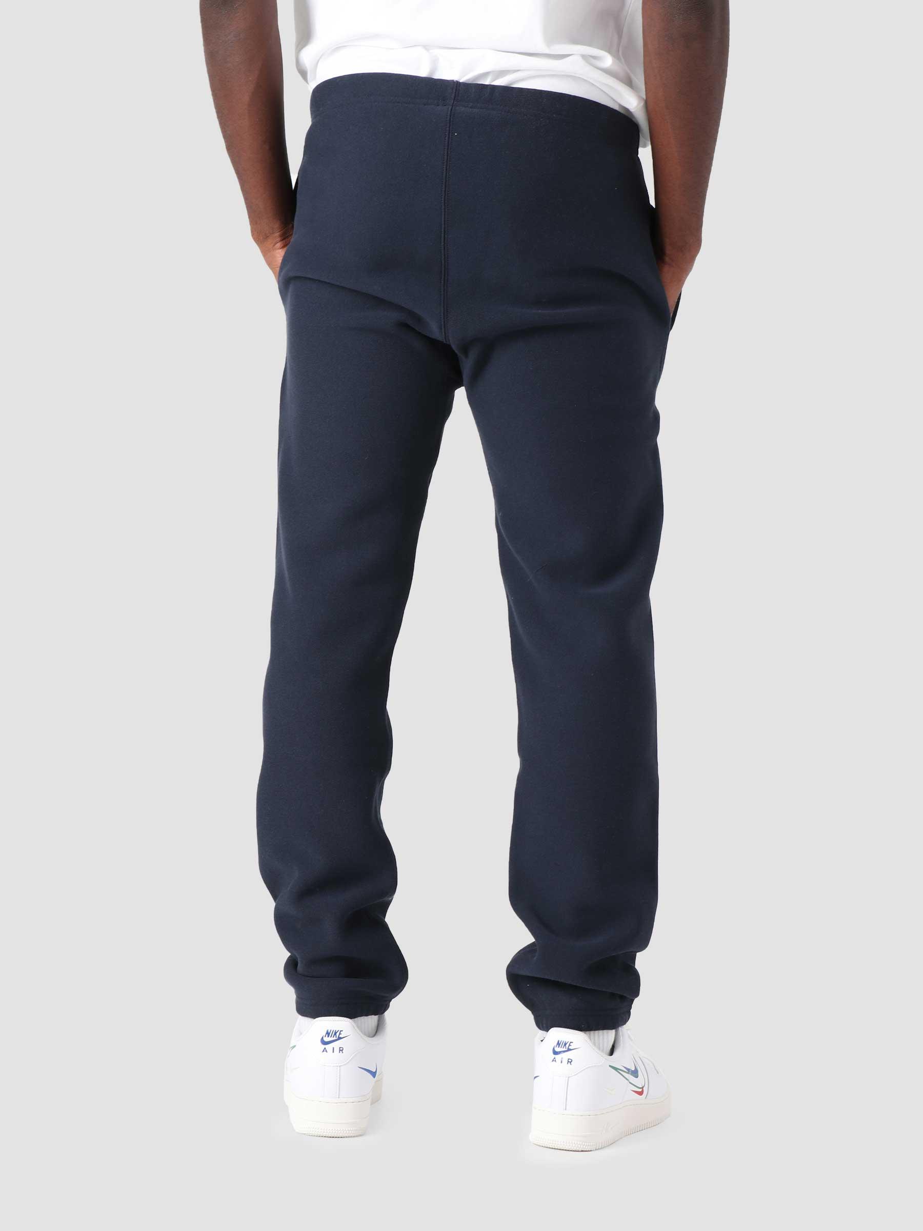 Reverse Weave Soft Fleece Elastic Cuff Pants Navy COKFQ7-BS501