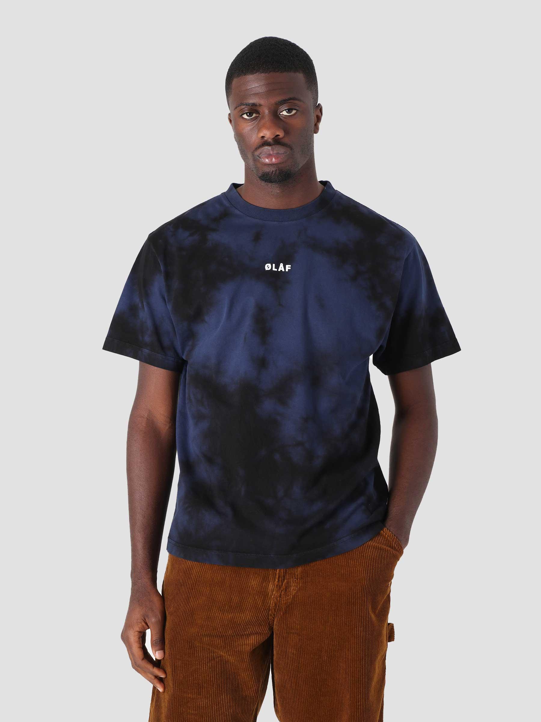 OLAF Tie Dye Block T-Shirt Black Blue