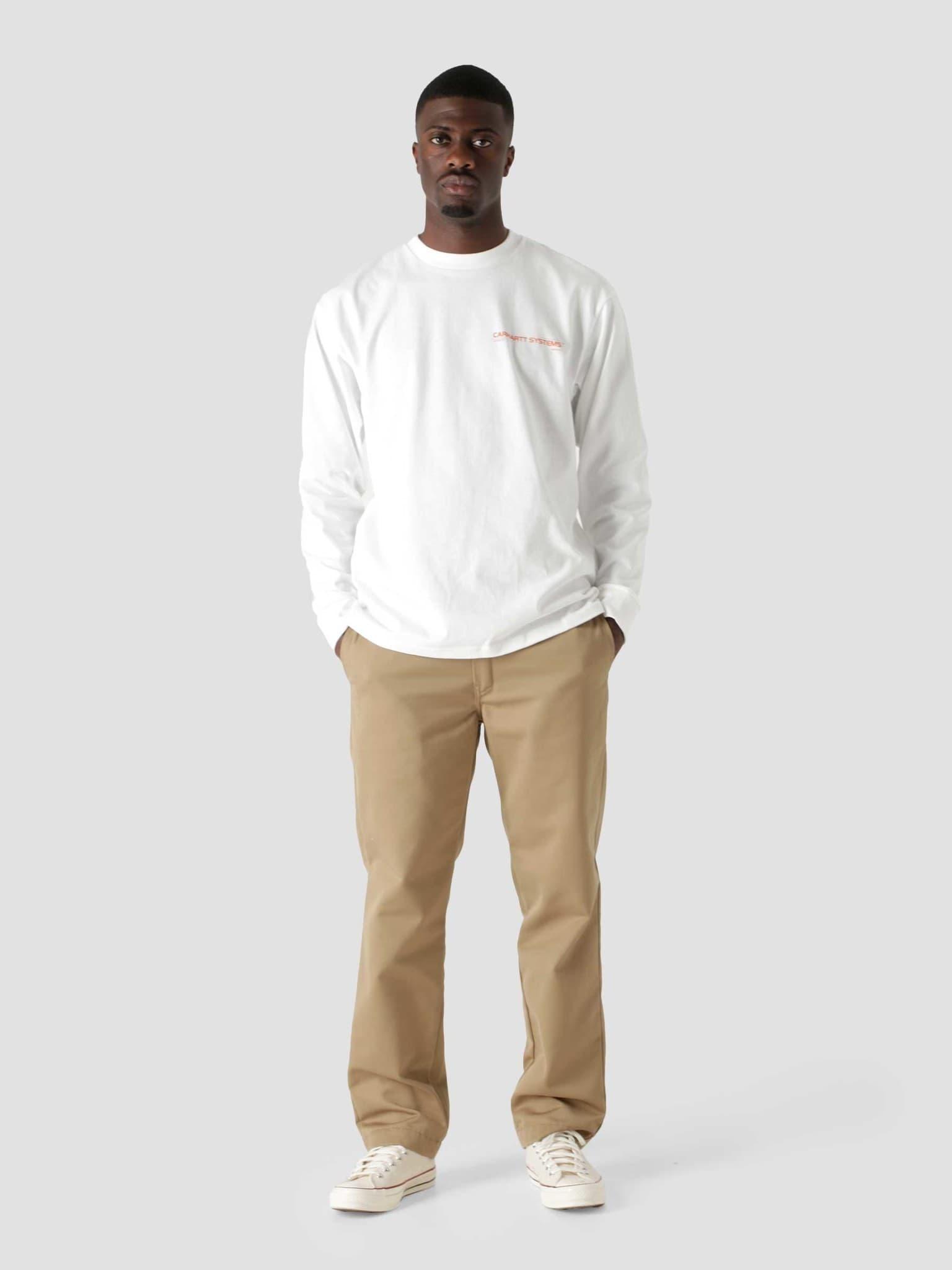 Longsleeve Pyramid T-Shirt White Orange I029622