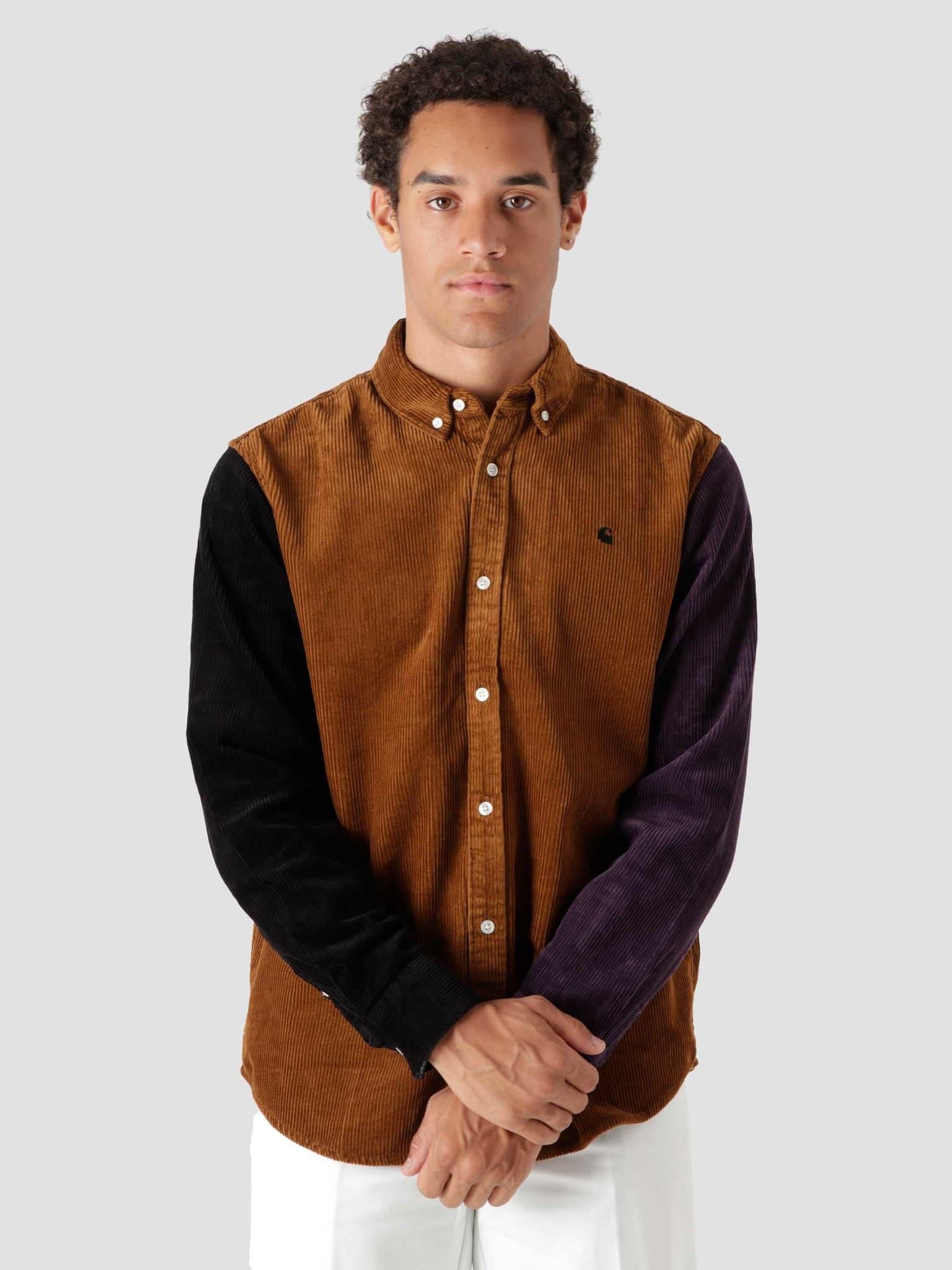 Longsleeve Triple Madison Cord Shirt Tawny Black Dark Iris I029480