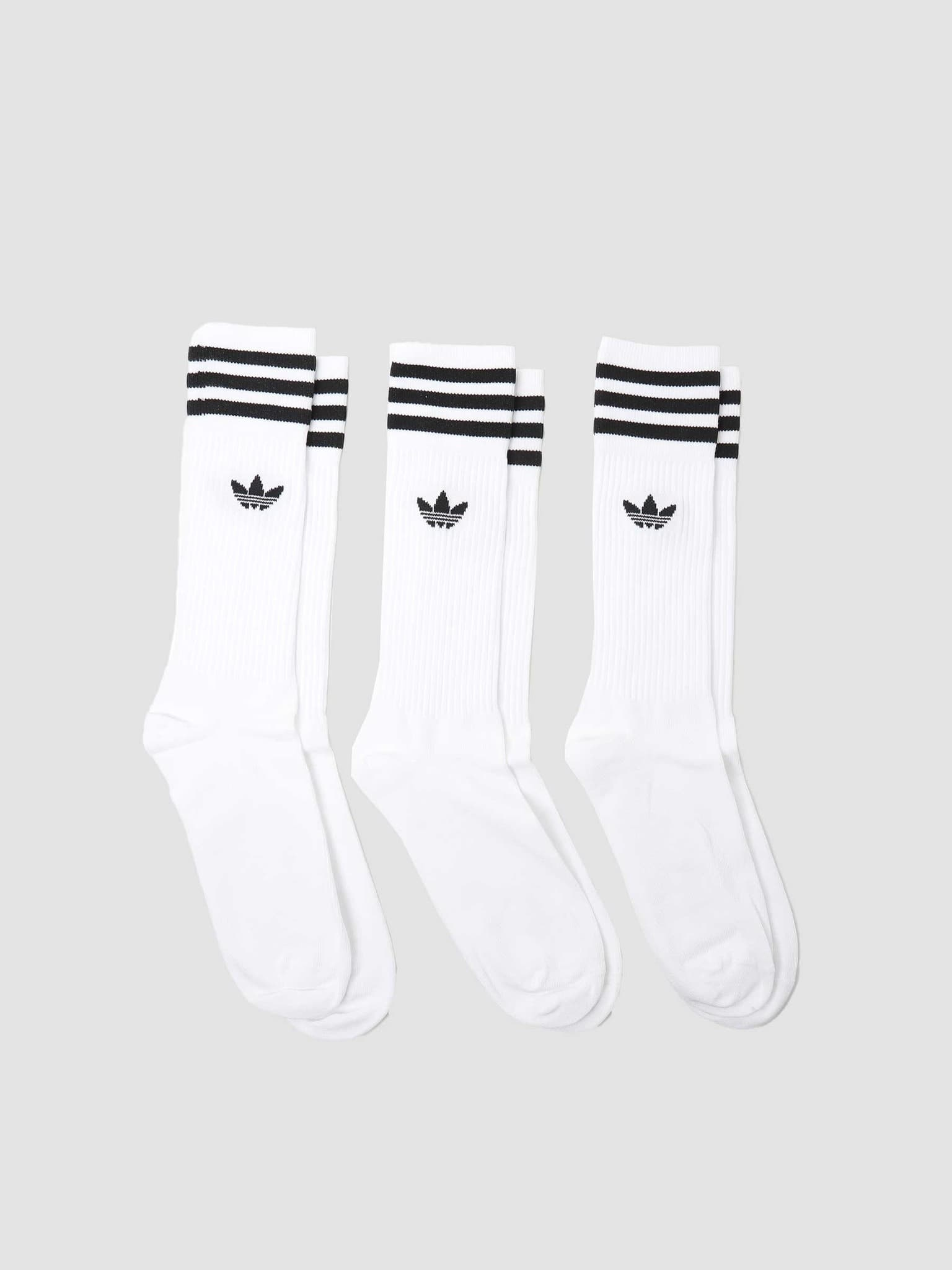 Solid Crew Sock White Black S21489