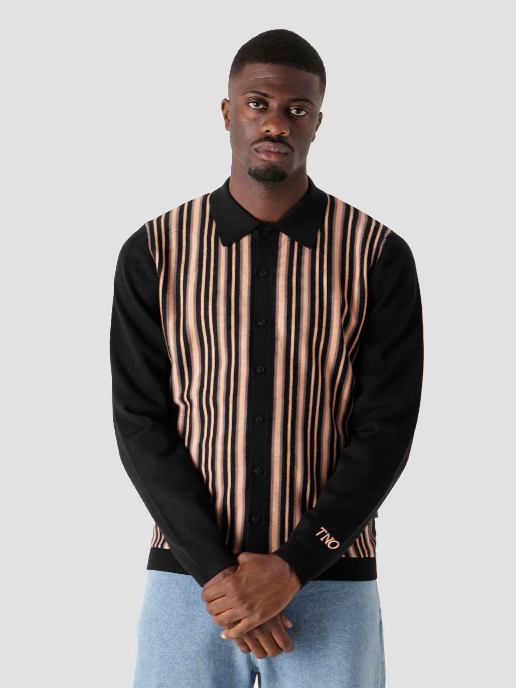 Striped Button Vest Black
